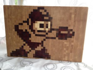 1337 motif handmade wooden cutting board 8 bit art