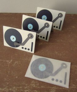 paper acorn handmade record player cards