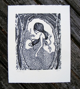 the diggingest girl, woodcut prints