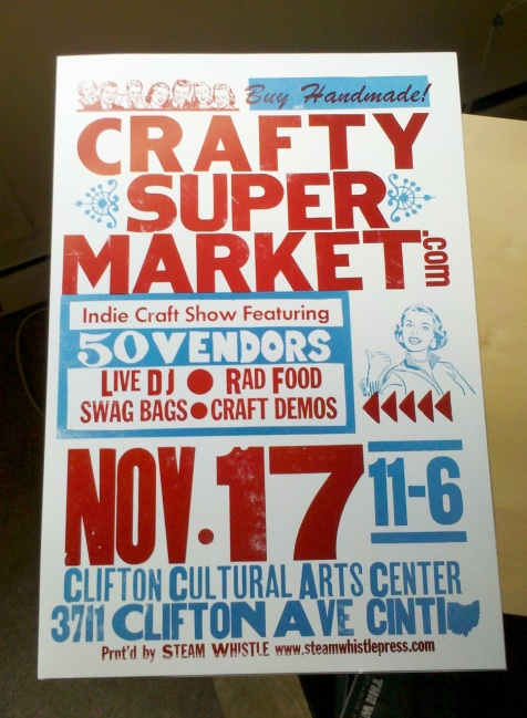 letterpress craft show poster, cincinnati ohio, steam whistle letterpress