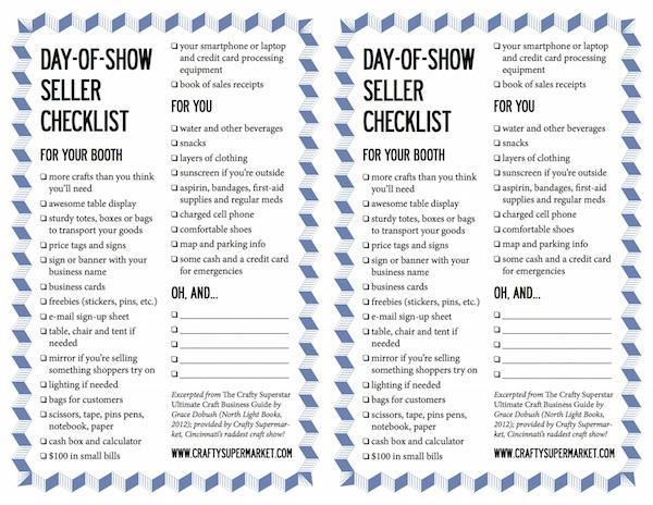 craft show seller checklist