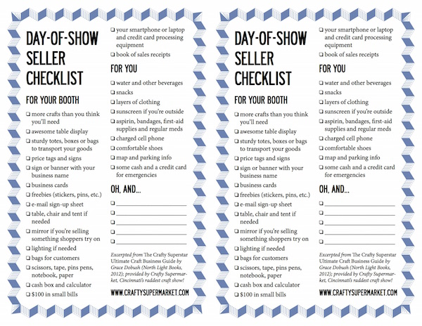 craft show seller checklist