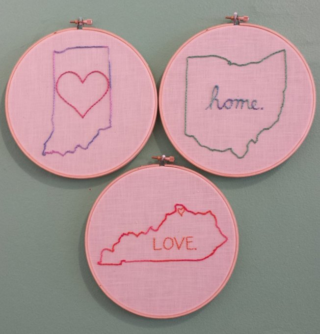 state outline embroidery samplers, purple hippo stitches, cincinnati